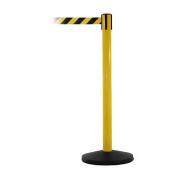 Black/Yellow Retractable Safety Barrier c/w Yellow Post